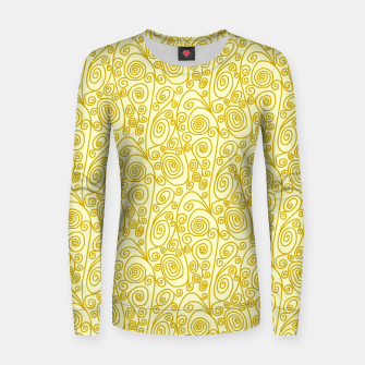 Thumbnail image of Golden Curls on Yellow Doodle Art  Women sweater, Live Heroes