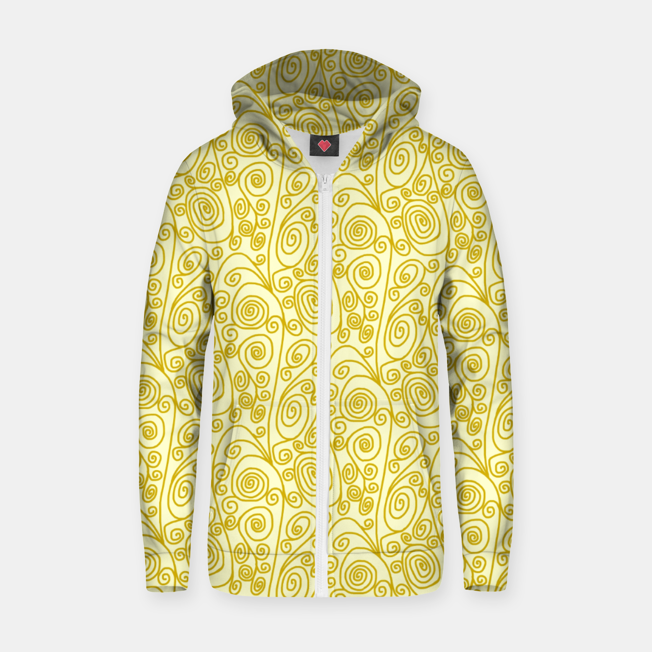 Image of Golden Curls on Yellow Doodle Art  Zip up hoodie - Live Heroes