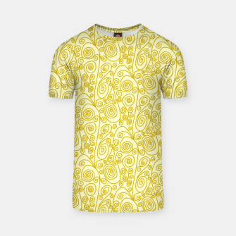 Golden Curls on Yellow Doodle Art  T-shirt thumbnail image