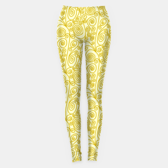 Golden Curls on Yellow Doodle Art  Leggings thumbnail image