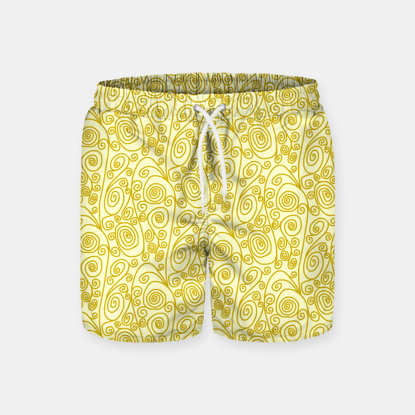 Image of Golden Curls on Yellow Doodle Art  Swim Shorts - Live Heroes