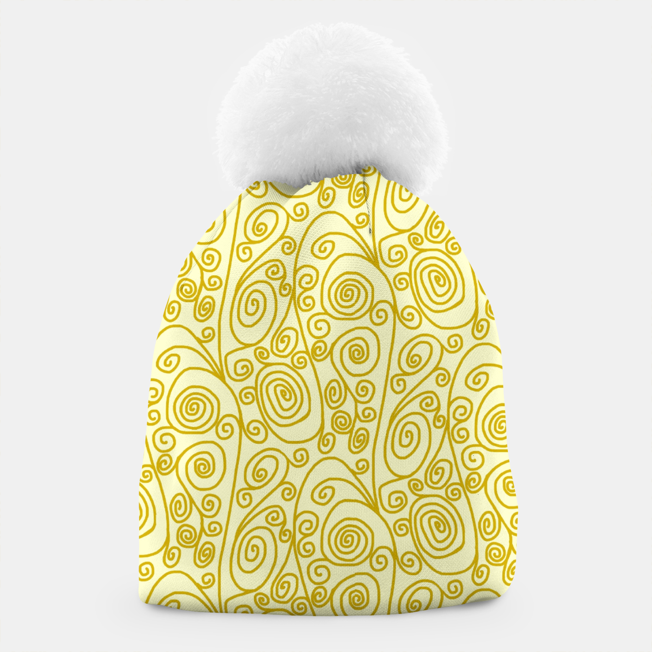 Image of Golden Curls on Yellow Doodle Art  Beanie - Live Heroes