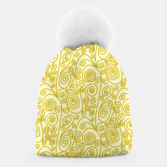 Golden Curls on Yellow Doodle Art  Beanie thumbnail image
