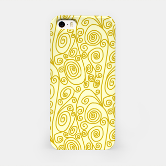 Golden Curls on Yellow Doodle Art  iPhone Case thumbnail image