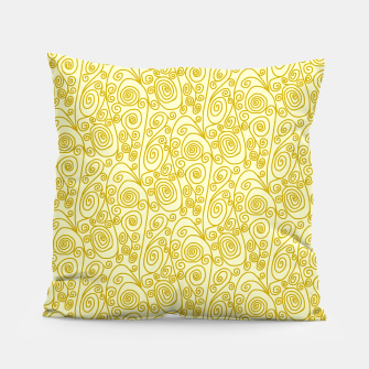 Golden Curls on Yellow Doodle Art  Pillow thumbnail image