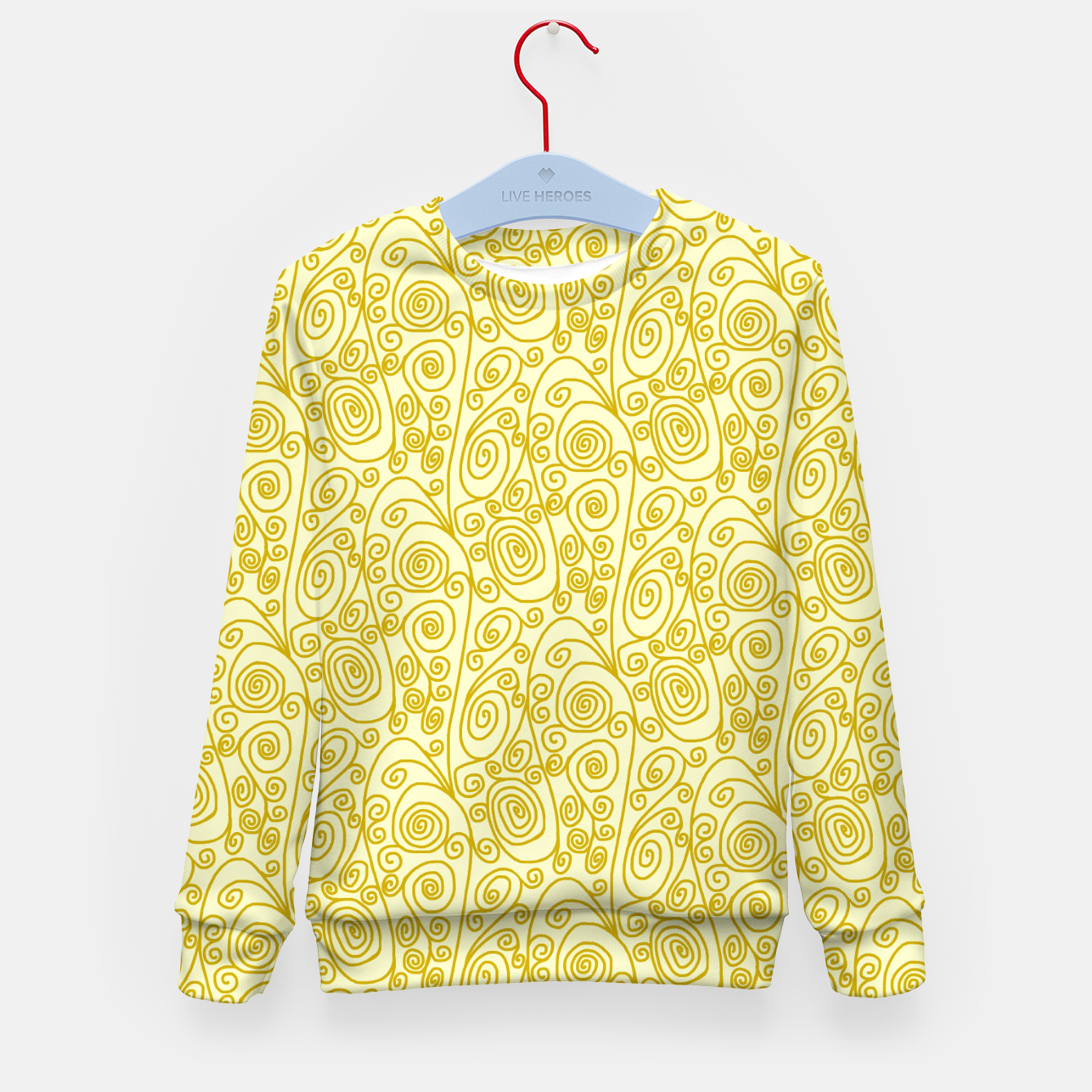 Image of Golden Curls on Yellow Doodle Art  Kid's sweater - Live Heroes