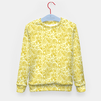 Thumbnail image of Golden Curls on Yellow Doodle Art  Kid's sweater, Live Heroes