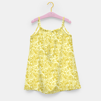 Golden Curls on Yellow Doodle Art  Girl's dress thumbnail image