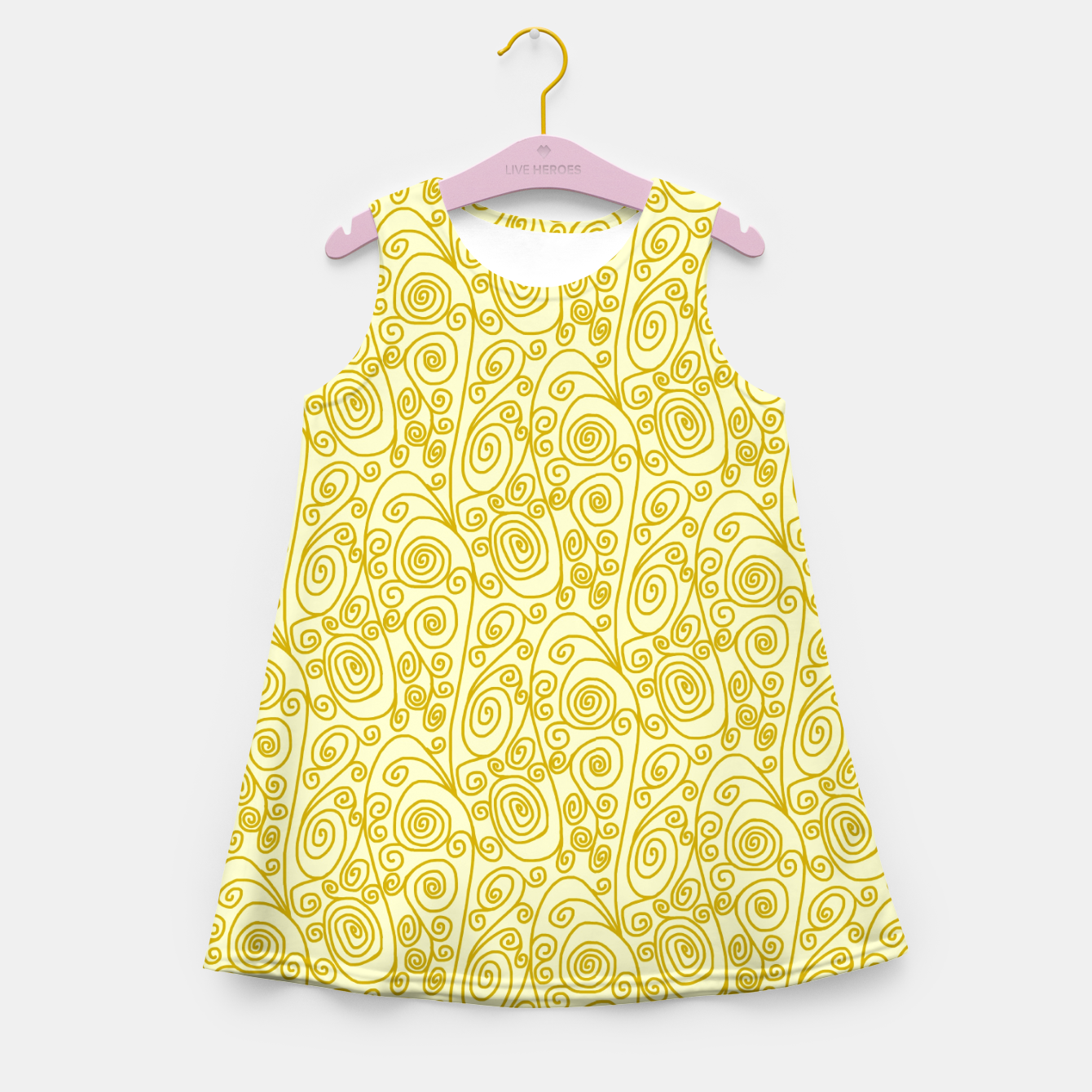 Image of Golden Curls on Yellow Doodle Art  Girl's summer dress - Live Heroes