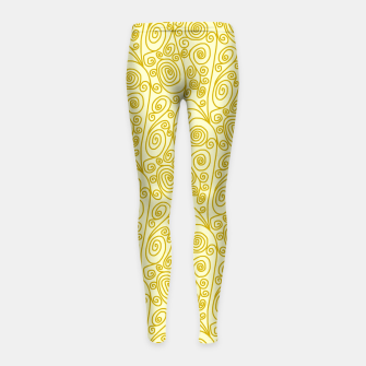Thumbnail image of Golden Curls on Yellow Doodle Art  Girl's leggings, Live Heroes