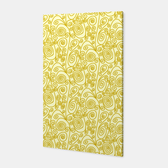 Golden Curls on Yellow Doodle Art  Canvas thumbnail image