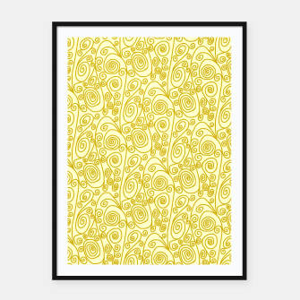 Thumbnail image of Golden Curls on Yellow Doodle Art  Framed poster, Live Heroes