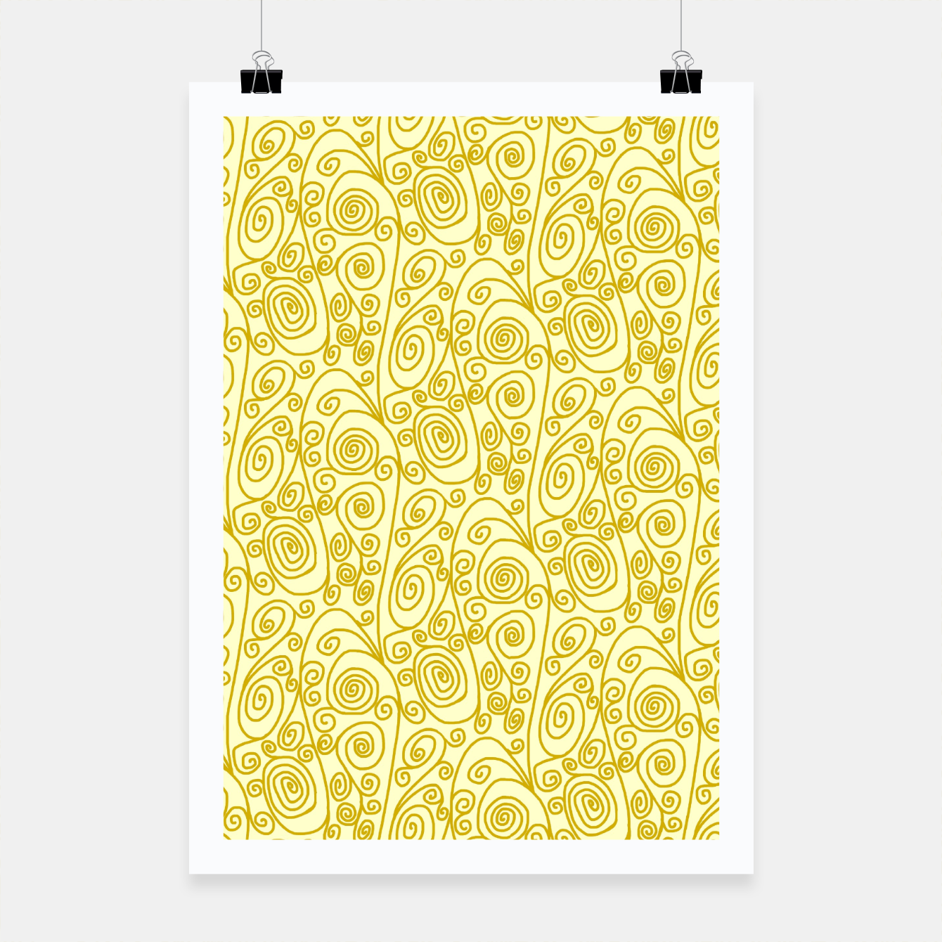 Image of Golden Curls on Yellow Doodle Art  Poster - Live Heroes