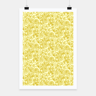 Golden Curls on Yellow Doodle Art  Poster thumbnail image