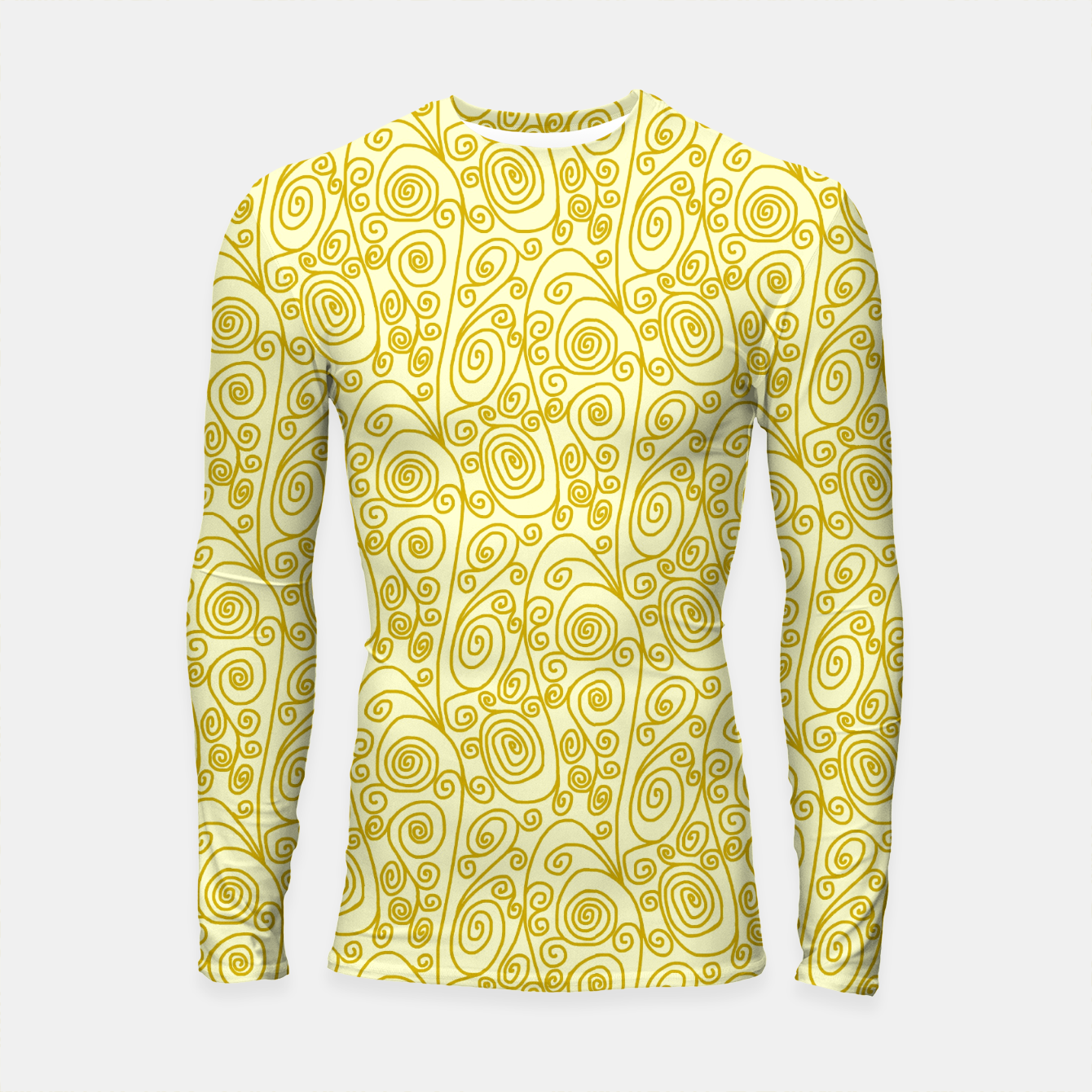 Image of Golden Curls on Yellow Doodle Art  Longsleeve rashguard  - Live Heroes