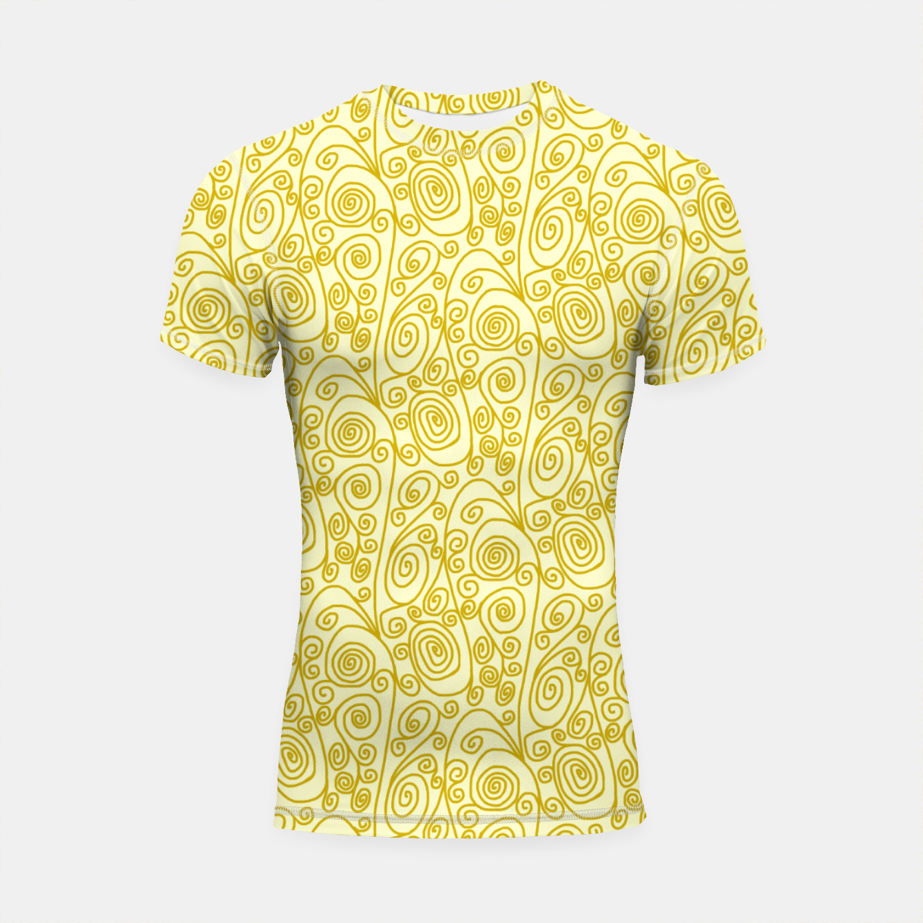 Image of Golden Curls on Yellow Doodle Art  Shortsleeve rashguard - Live Heroes