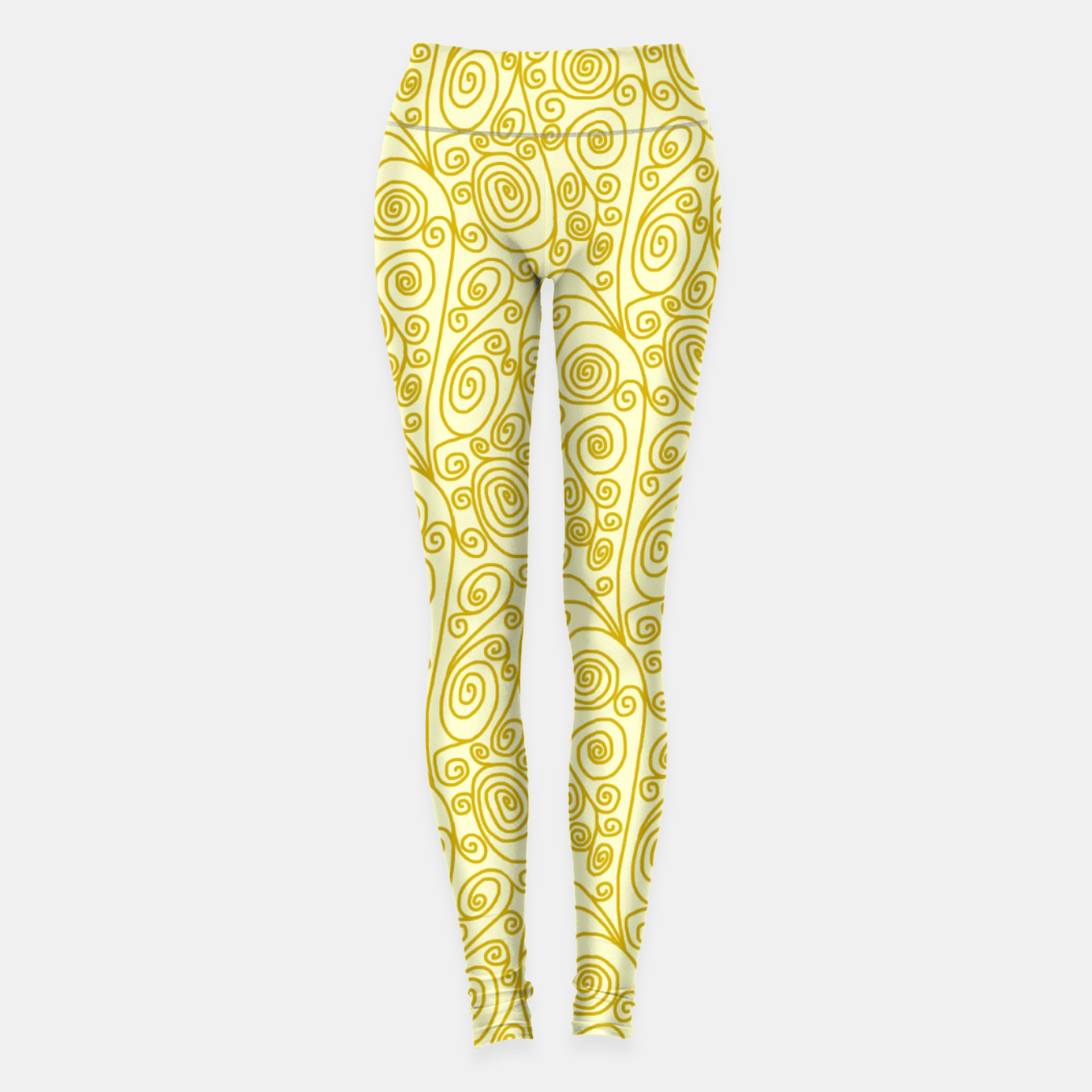 Image of Golden Curls on Yellow Doodle Art  Leggings - Live Heroes
