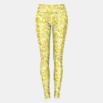 Thumbnail image of Golden Curls on Yellow Doodle Art  Leggings, Live Heroes