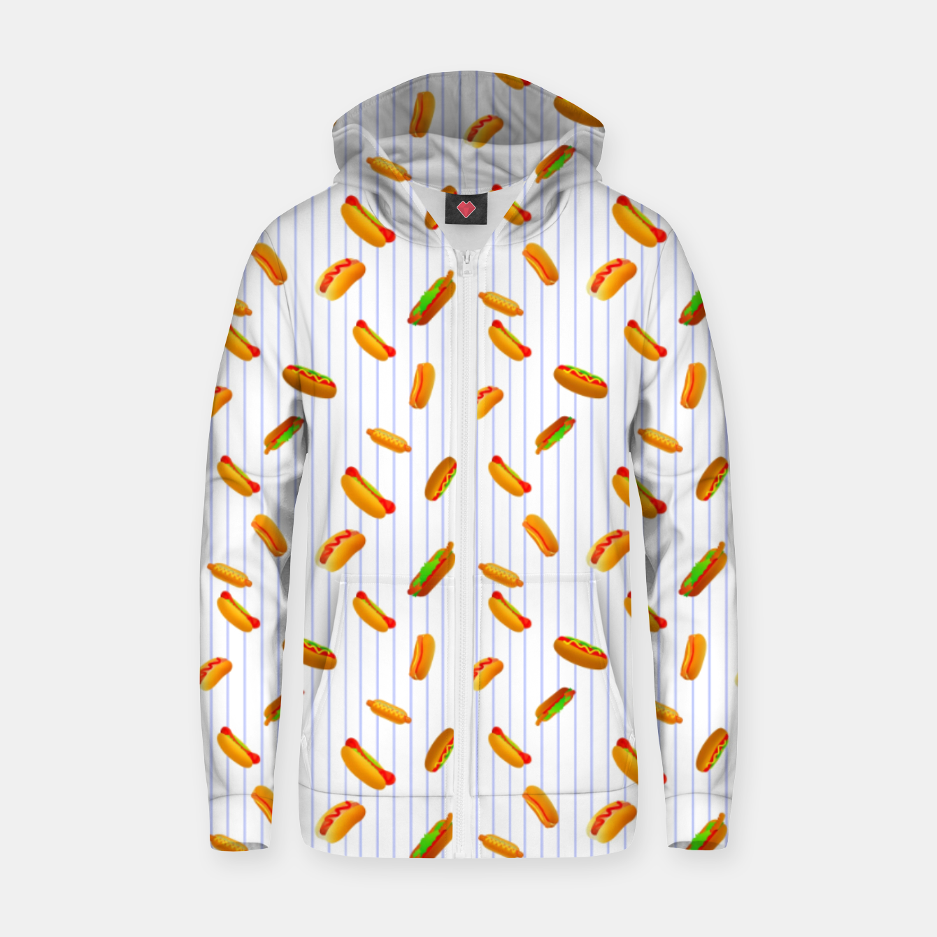Image of Hot Dogs Pattern  Zip up hoodie - Live Heroes
