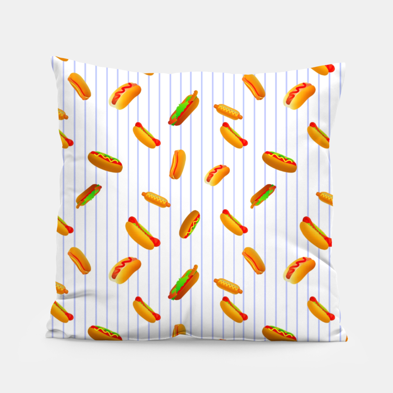 Image of Hot Dogs Pattern  Pillow - Live Heroes