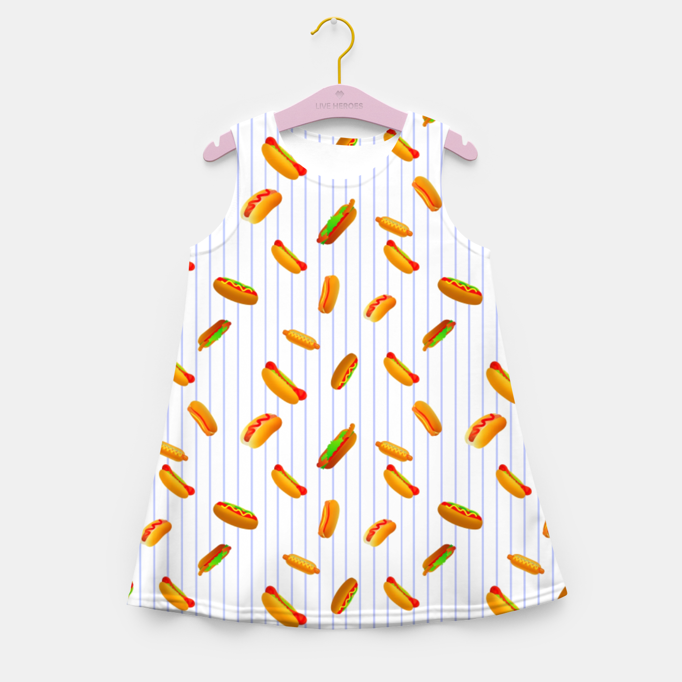 Image of Hot Dogs Pattern  Girl's summer dress - Live Heroes