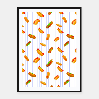 Thumbnail image of Hot Dogs Pattern  Framed poster, Live Heroes
