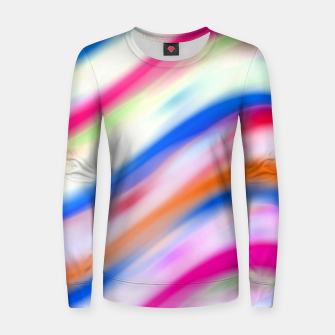 Vivid Colorful Wavy Abstract Print Women sweater obraz miniatury