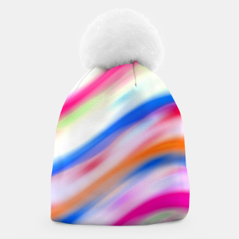 Vivid Colorful Wavy Abstract Print Beanie obraz miniatury