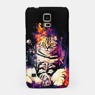 cat sitting like human ws fn Samsung Case miniature