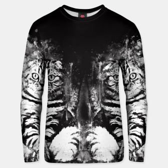 cat sitting like human ws bw Unisex sweater thumbnail image