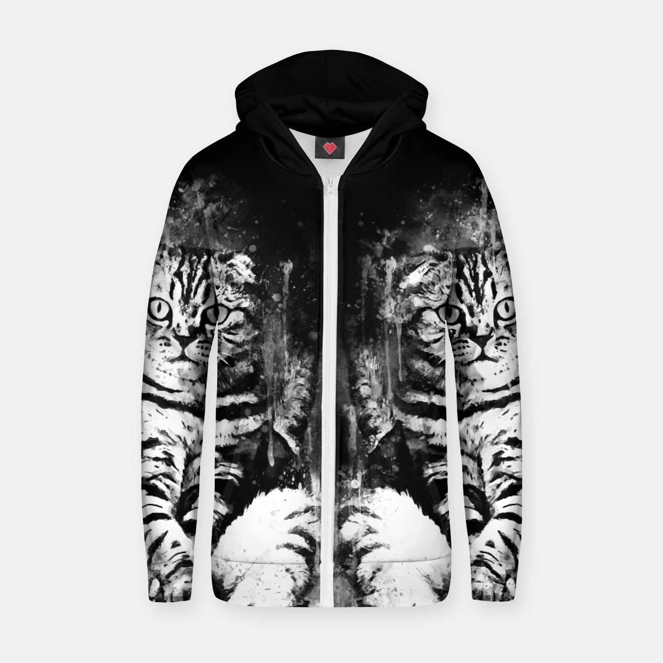 Image of cat sitting like human ws bw Zip up hoodie - Live Heroes