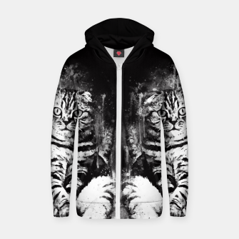 cat sitting like human ws bw Zip up hoodie thumbnail image