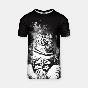 cat sitting like human ws bw T-shirt thumbnail image