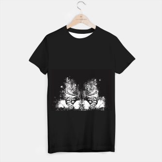 cat sitting like human ws bw T-shirt regular miniature