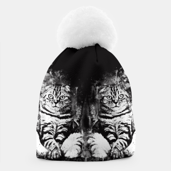 cat sitting like human ws bw Beanie thumbnail image
