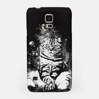cat sitting like human ws bw Samsung Case miniature