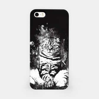 cat sitting like human ws bw iPhone Case miniature