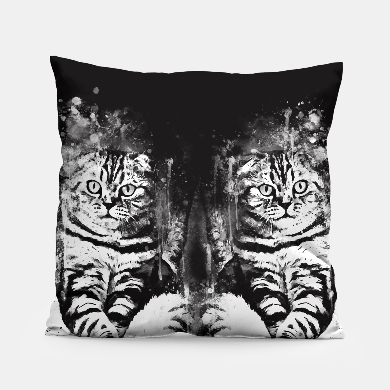 Image of cat sitting like human ws bw Pillow - Live Heroes