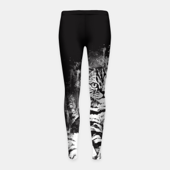 cat sitting like human ws bw Girl's leggings thumbnail image