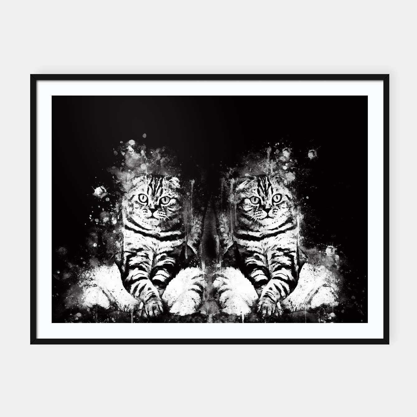 Image de cat sitting like human ws bw Framed poster - Live Heroes