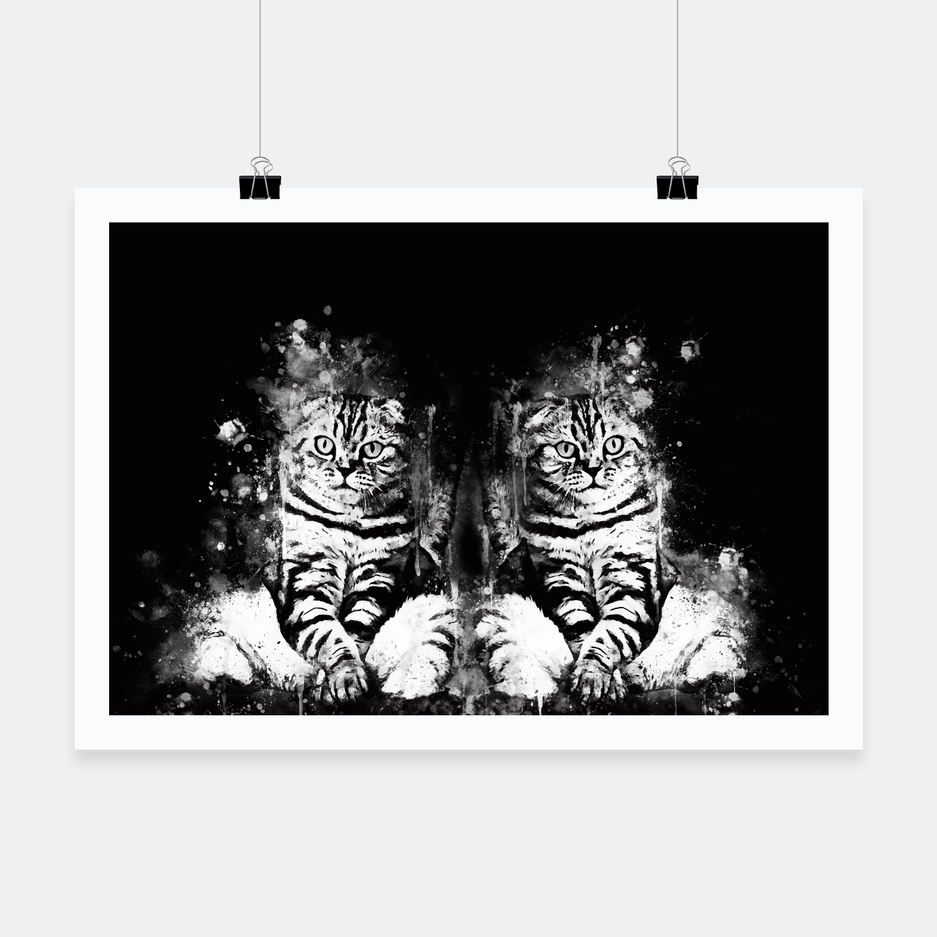 Image of cat sitting like human ws bw Poster - Live Heroes
