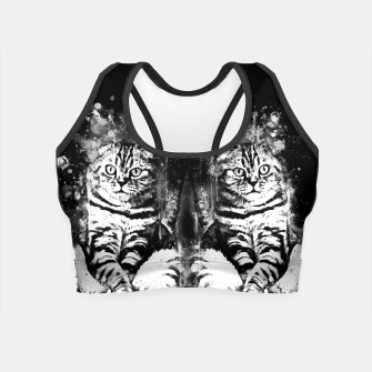 cat sitting like human ws bw Crop Top thumbnail image
