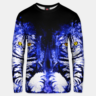 cat sitting like human ws db Unisex sweater thumbnail image