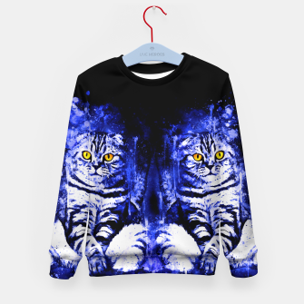 Miniature de image de cat sitting like human ws db Kid's sweater, Live Heroes