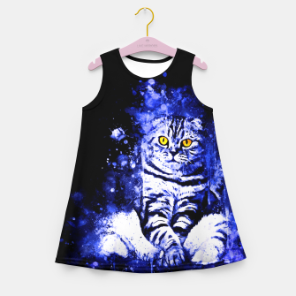 cat sitting like human ws db Girl's summer dress thumbnail image