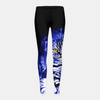 cat sitting like human ws db Girl's leggings thumbnail image