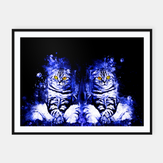 Miniature de image de cat sitting like human ws db Framed poster, Live Heroes