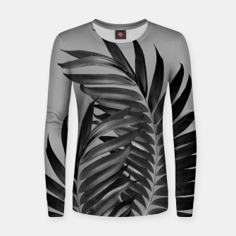 Thumbnail image of Palm Leaves Gray Black Vibes #1 #tropical #decor #art Frauen sweatshirt, Live Heroes