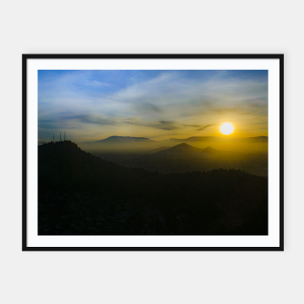 Thumbnail image of Sunset Scene Santiago de Chile Aerial View  Framed poster, Live Heroes