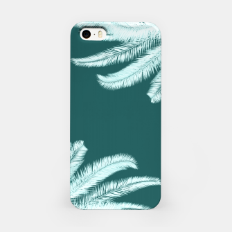 Miniatur Palm leaves on teal iPhone Case, Live Heroes
